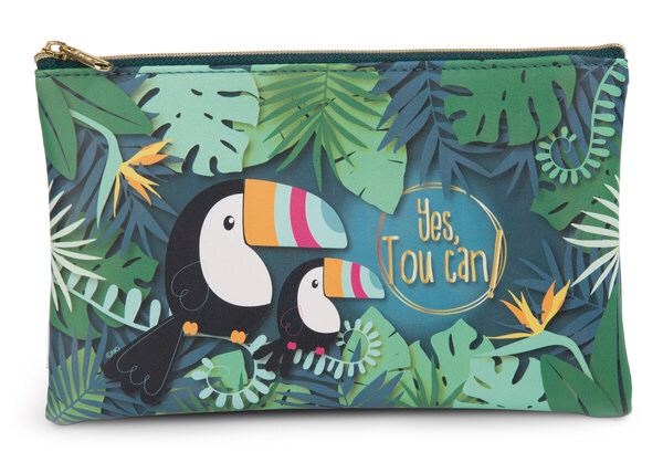 Flat pencil case toucan made of imitation leather