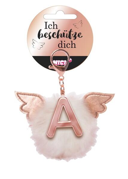 Bag pendant Angel PomPom letter A