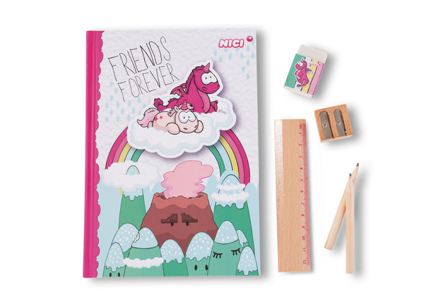 Stationery set Theodor & Friendswith hardcover notebook, in display