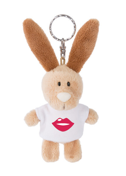 Keyring rabbit with lipstick kiss