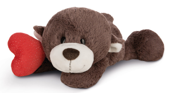 Lying cuddly toy Love bear boy with heart