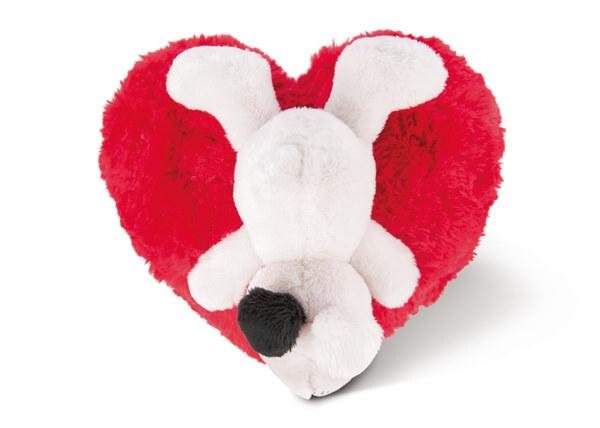 Kuscheltier Love Hund auf Herzkissen