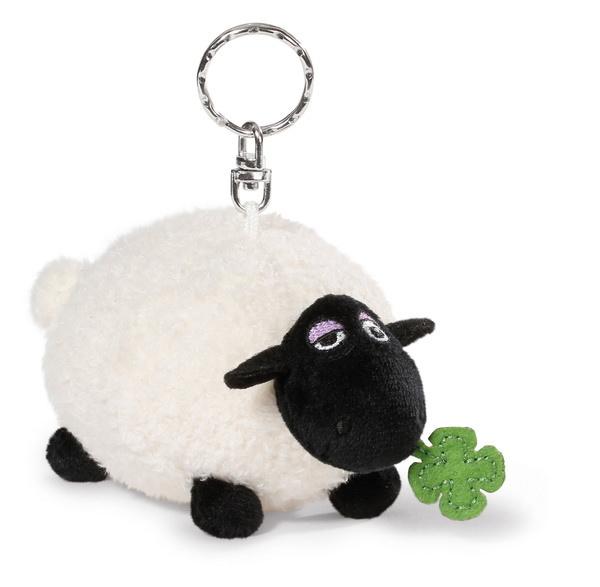 Schlüsselanhänger Schaf Shirley mit Kleeblatt
