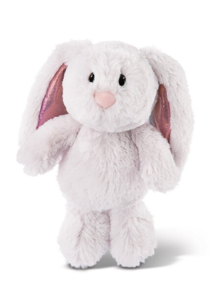 Cuddly toy Bunny light grey with glittering ears