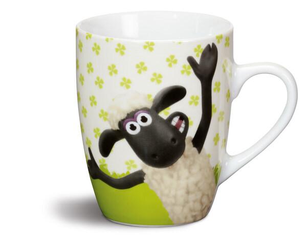 Porzellantasse Shaun das Schaf und Timmy mit Kleeblättern