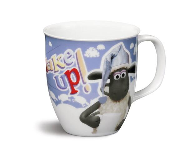 """Porcelain mug Shaun the Sheep """"Wake up!"""""""