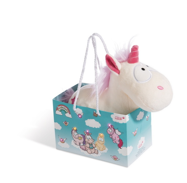 Cuddly toy unicorn Theodor in LED bag