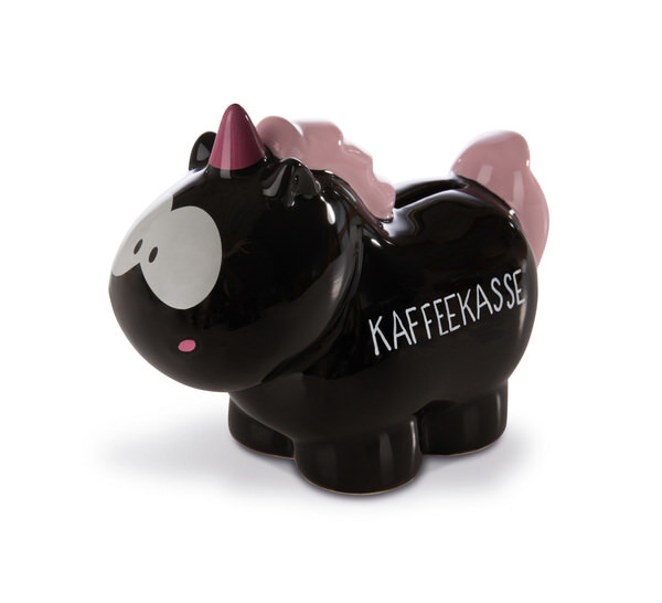"Savings box unicorn Carbon Flash ""Kaffeekasse"""
