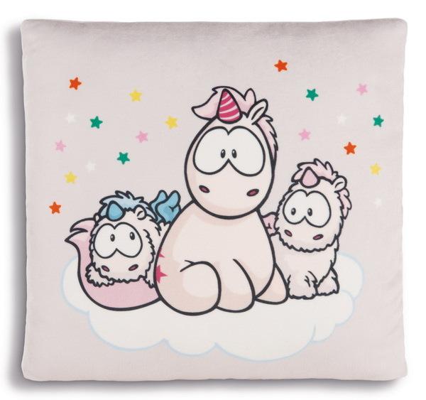Quadratisches Kissen Einhorn-Babys und Theodor