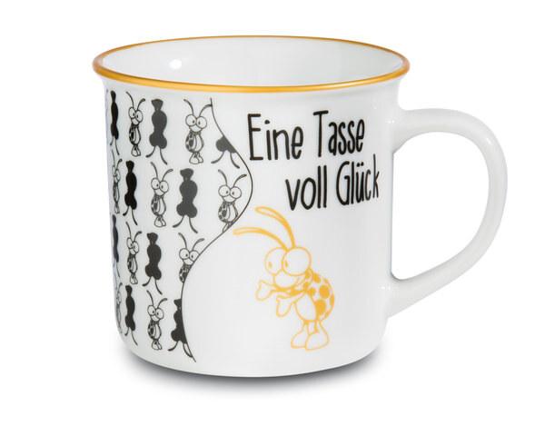 """Porzellantasse metallic """"Eine Tasse voll Glück"""""""