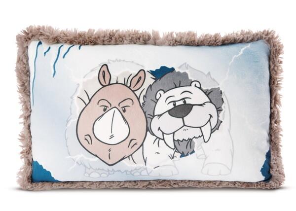 Rectangular cushion sabre-toothed polar bear Thorben und Wooly-Rhino Ellinor