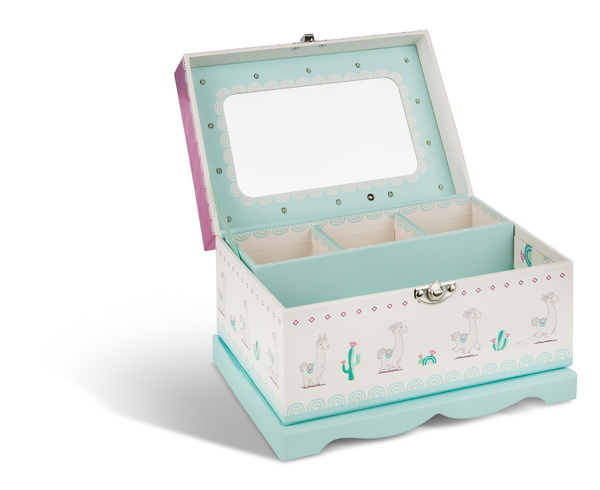 Schmuckbox Lama Flokatina mit LED-Lichtern und Spiegel