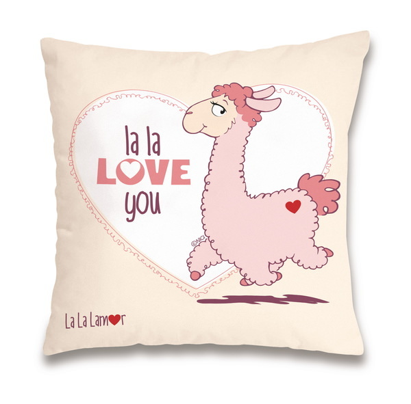"Baumwollkissen Lama ""la la love you"""