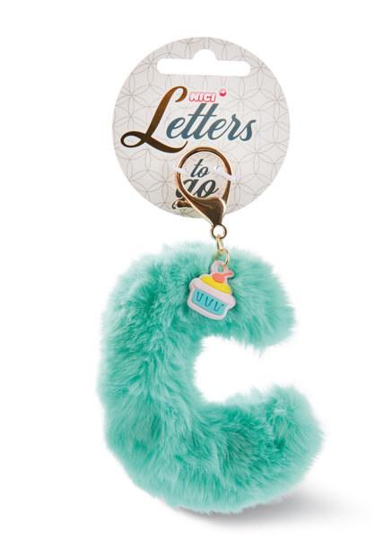 Plush bag pendant letter C with cupcake