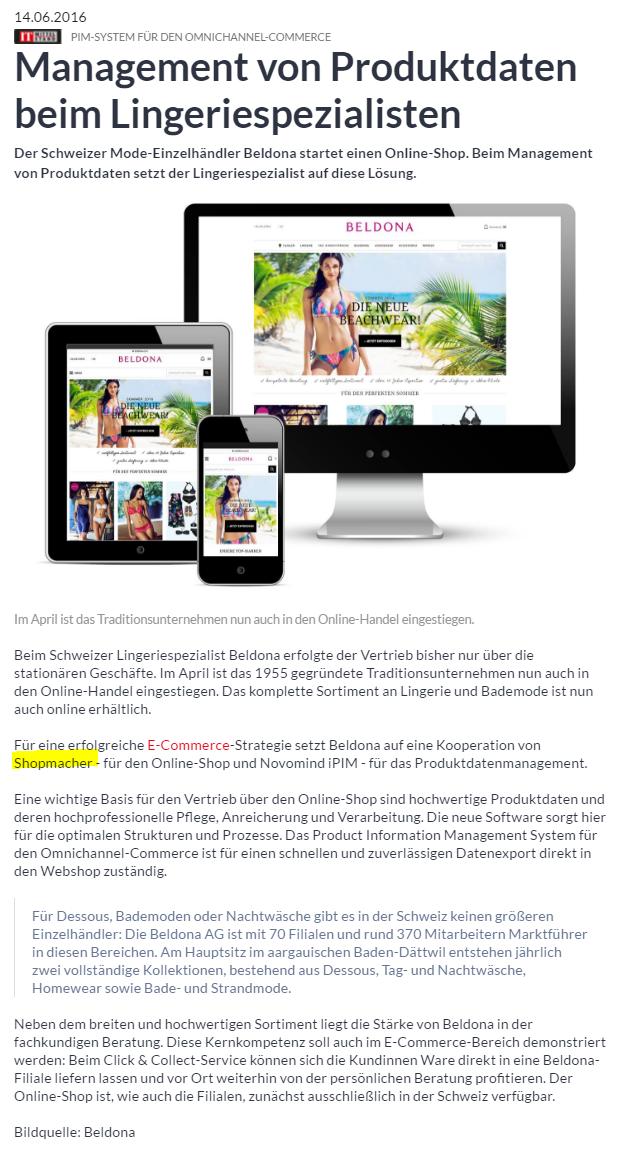 3d0486adf32a37 Für eine erfolgreiche eCommerce-Strategie setzt Beldona auf eine  Kooperation von Shopmacher - für den Online-Shop und Novomind iPIM - für  das ...