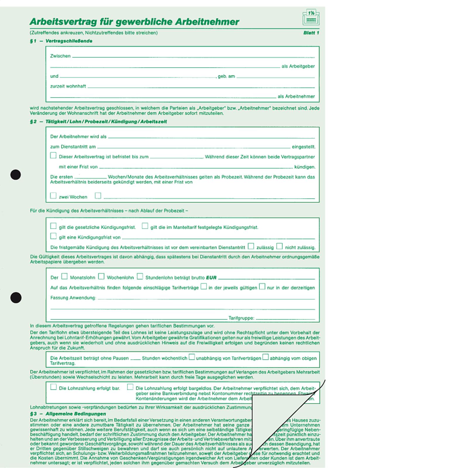 Rnk Arbeitsvertrag Gewerbl54210 Arbeitsvertrag Gewerblich Din