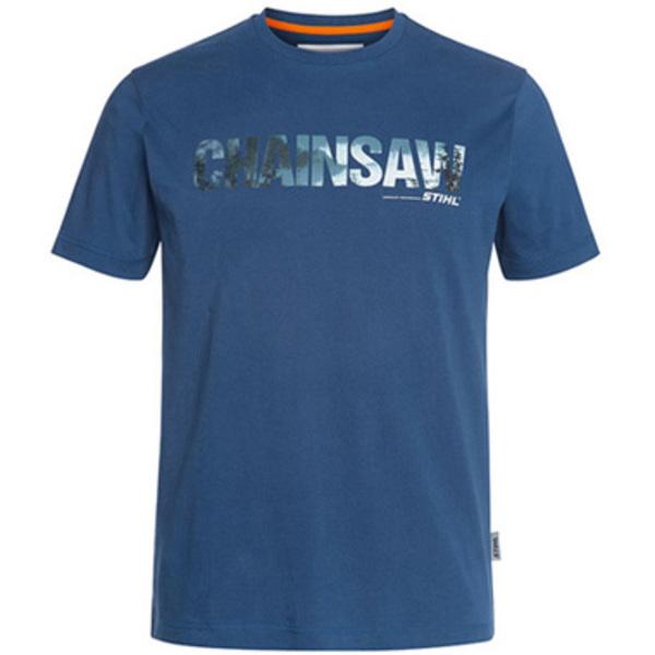 T-Shirt Motorsäge, Blau