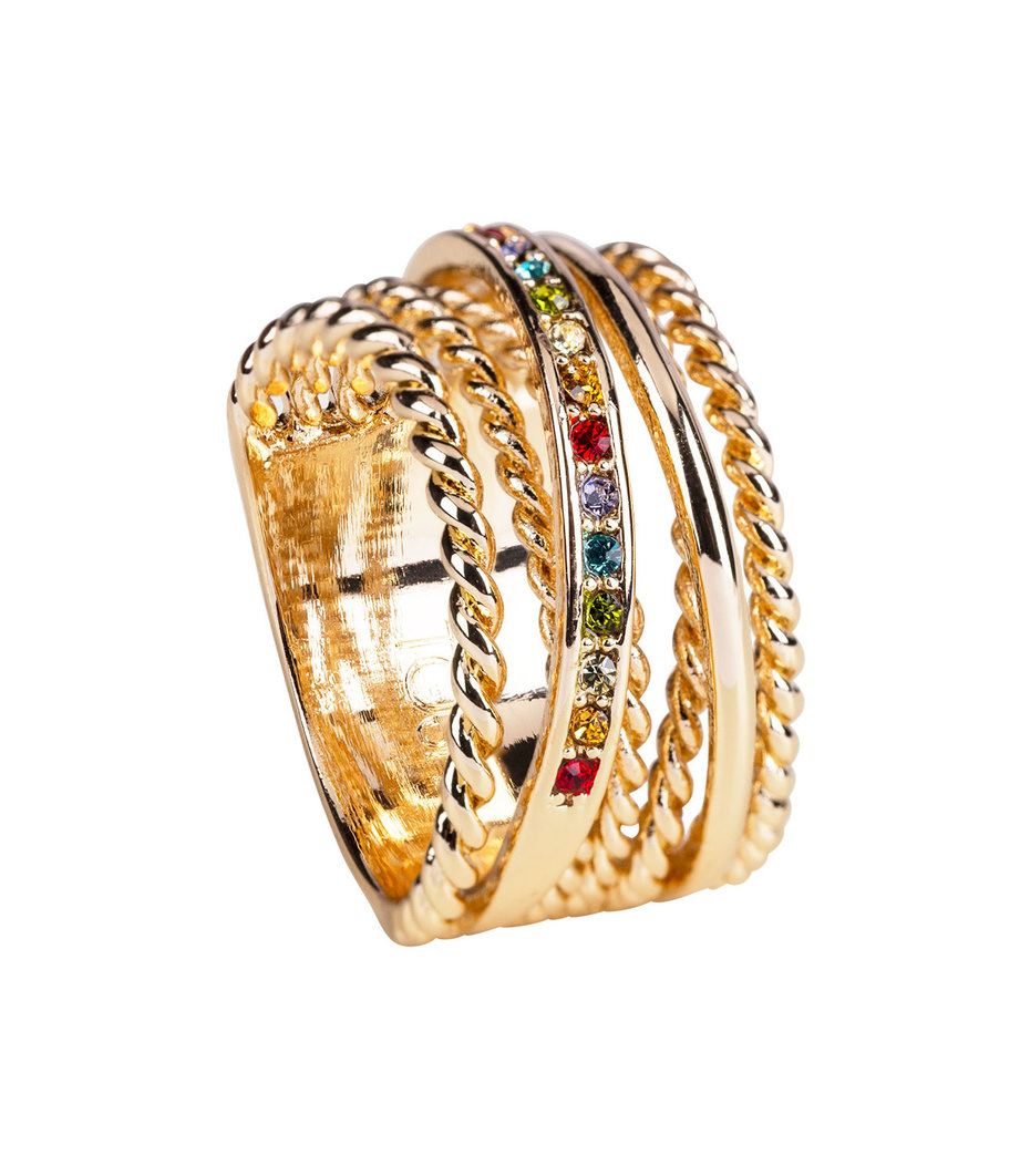 Goldfarbener Ring im Layering Look Gr. 52