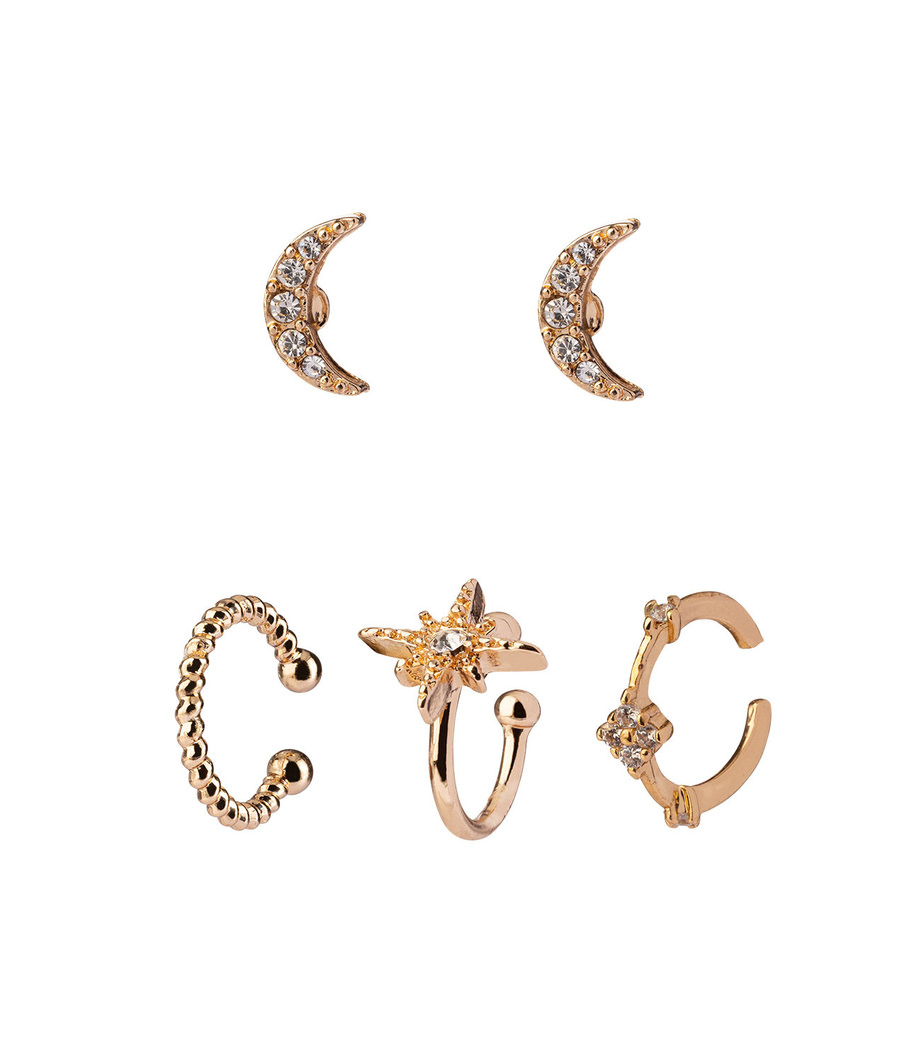 5er Set goldfarbene Ohrring-Set mit Earcuffs