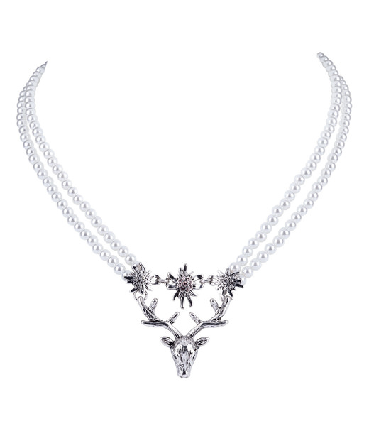 Perlenkette mit Hirsch und Edelweiß