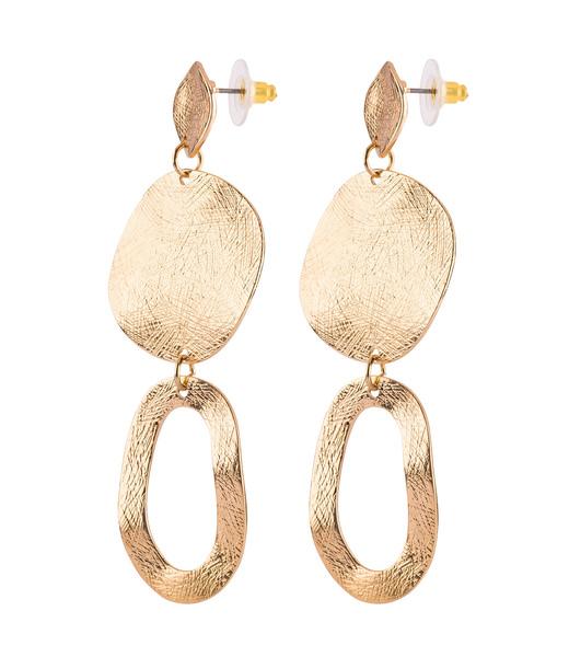 Goldene Statement-Ohrringe mit runden Formen