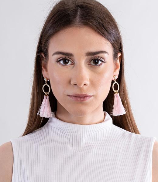 Rosa Quasten Ohrring