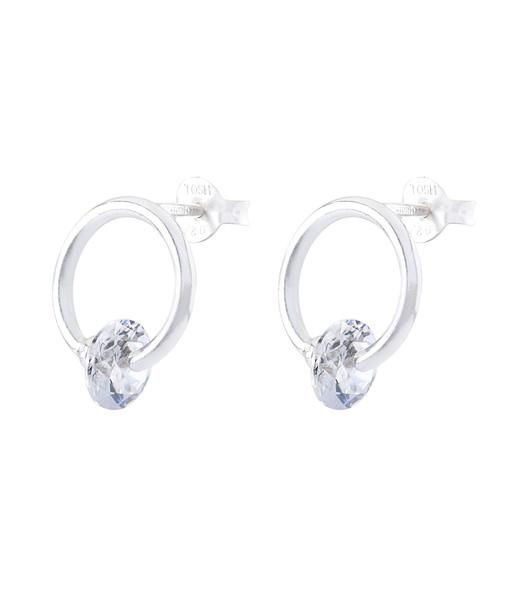 925er Silber Ohrstecker Ring mit Zirkoniasteinen