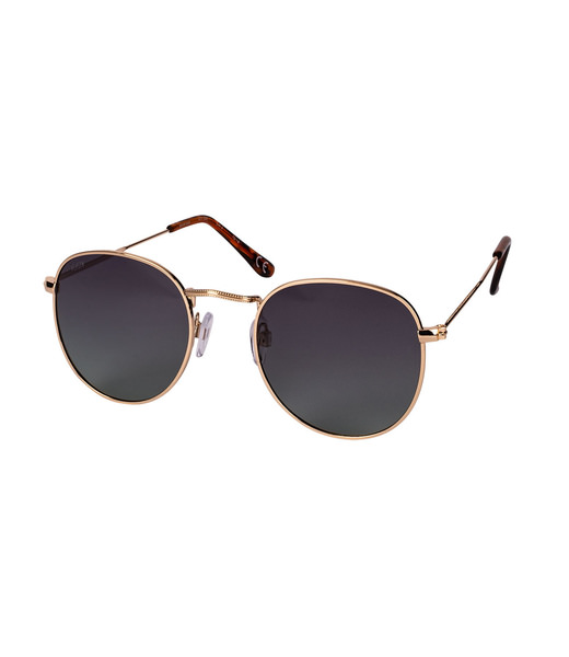 Halbrunde Sonnenbrille mit goldenem Gestell