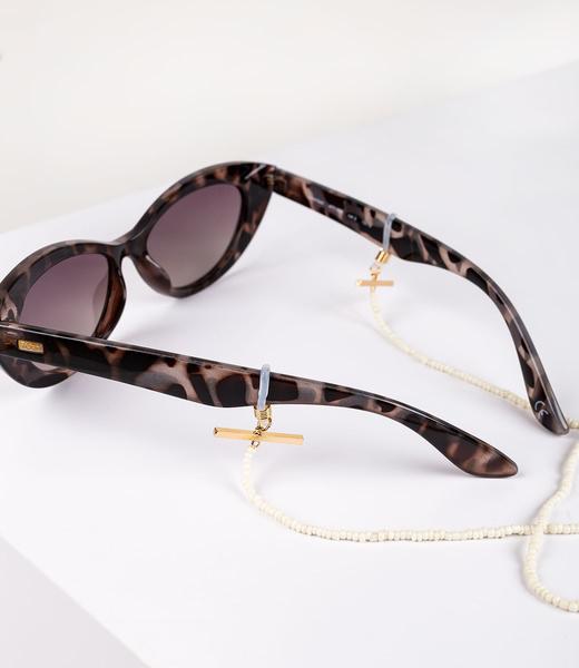 Brillenkette in ivory aus Glasperlen