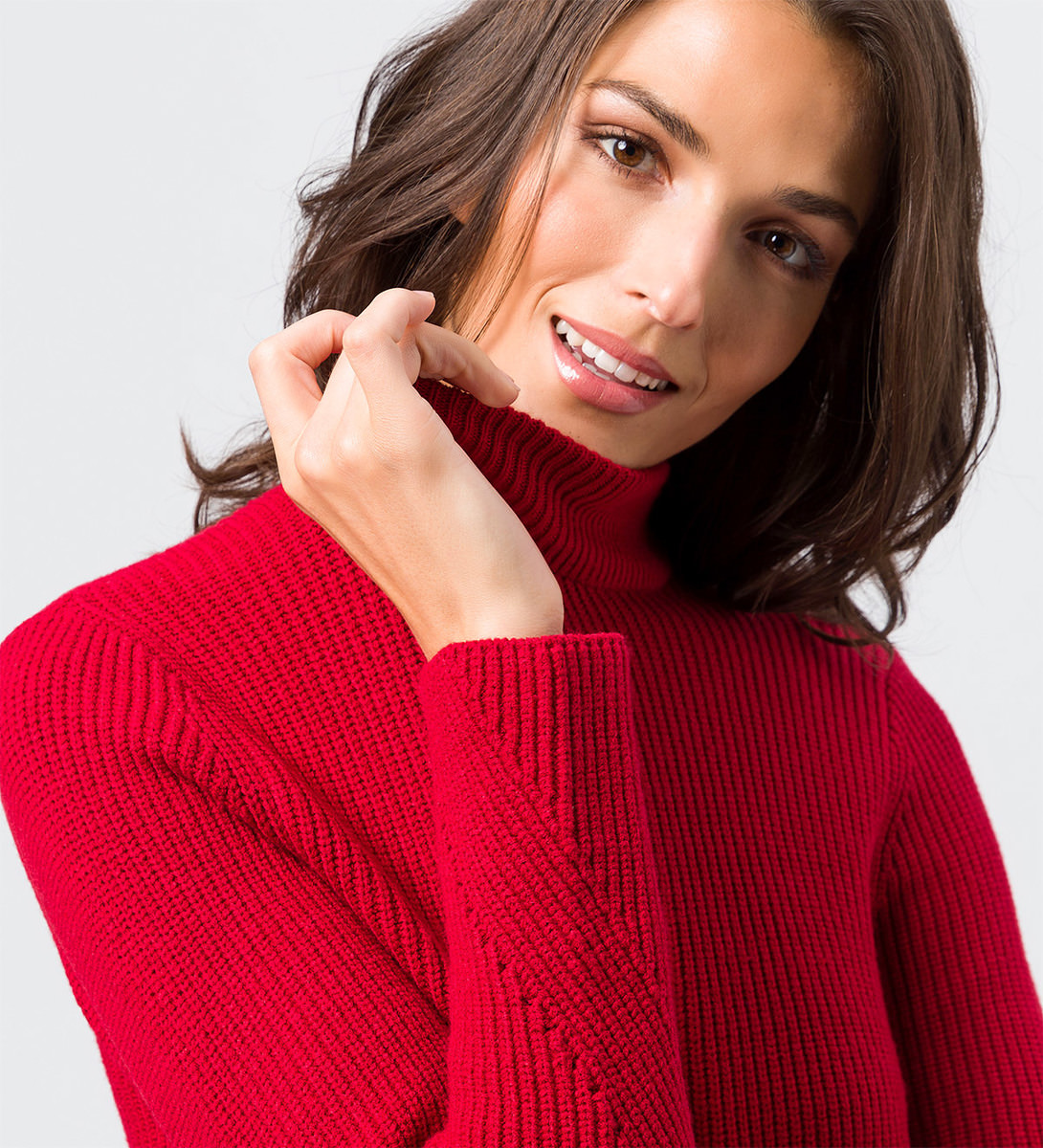 Pullover im Rippstrick-Look in tango red