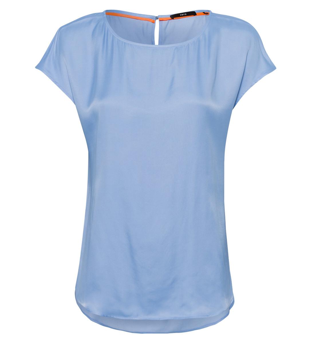 Blusenshirt mit leicht glänzender Oberfläche in blue wave