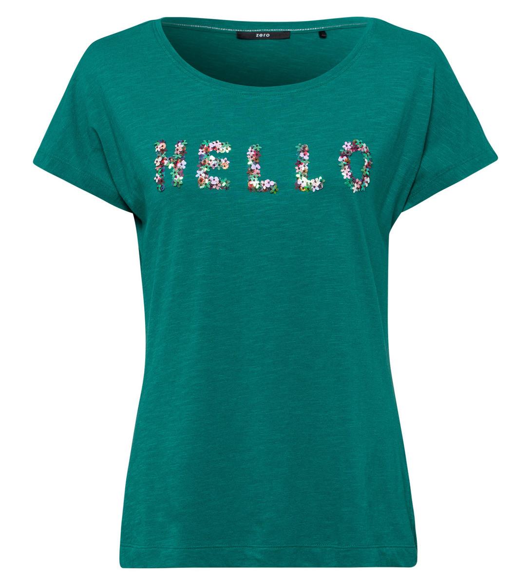 T-Shirt mit Stickerei in ivy green