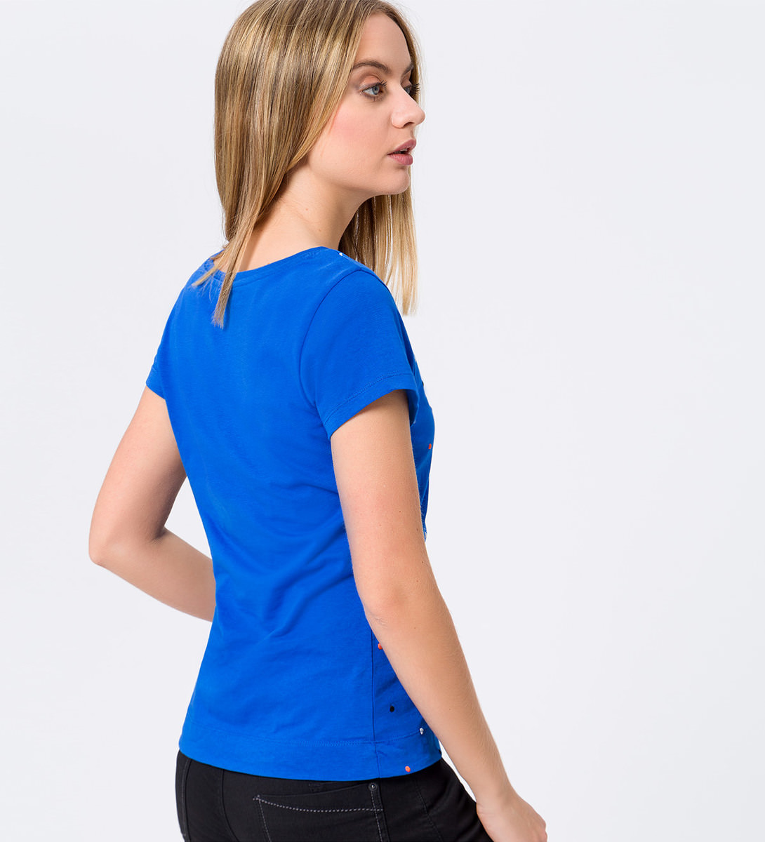 Jersey-Shirt mit eingestickten Punkten in cobalt blue