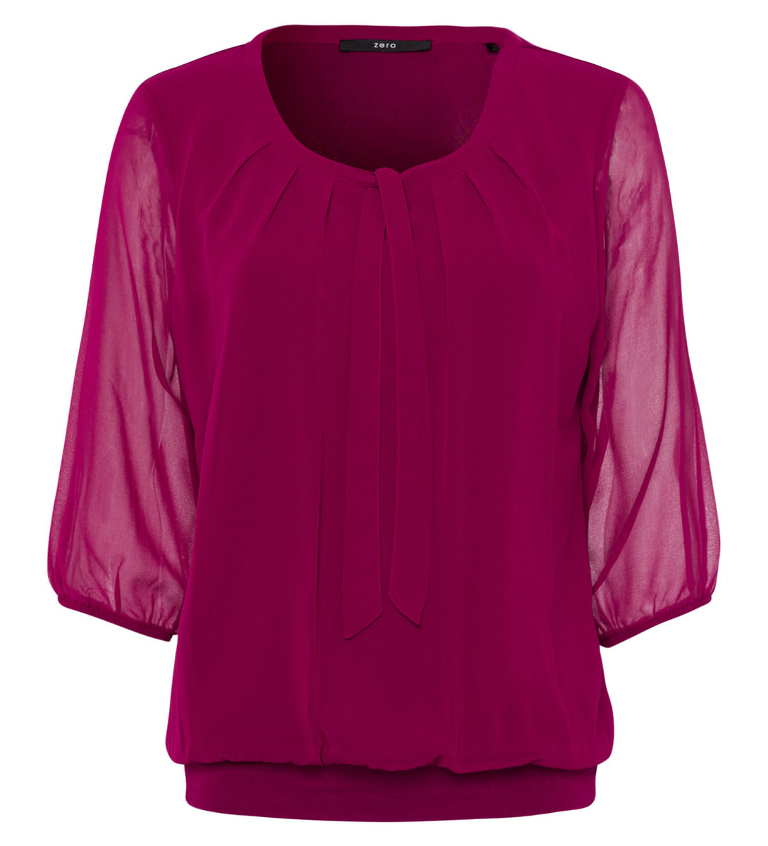 Bluse mit Schluppenkragen in dark magenta