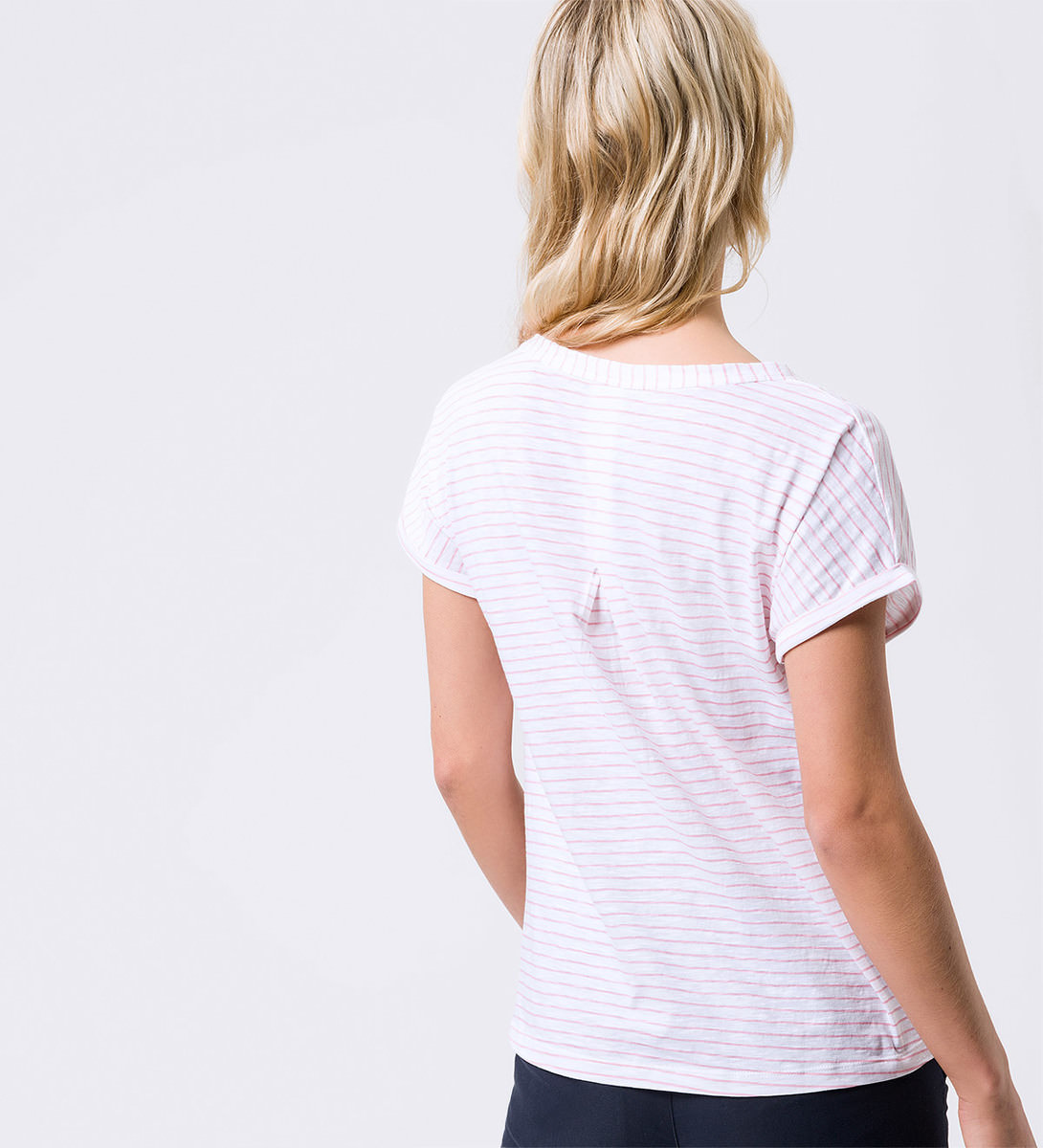 T-Shirt mit Streifenmuster in hot coral