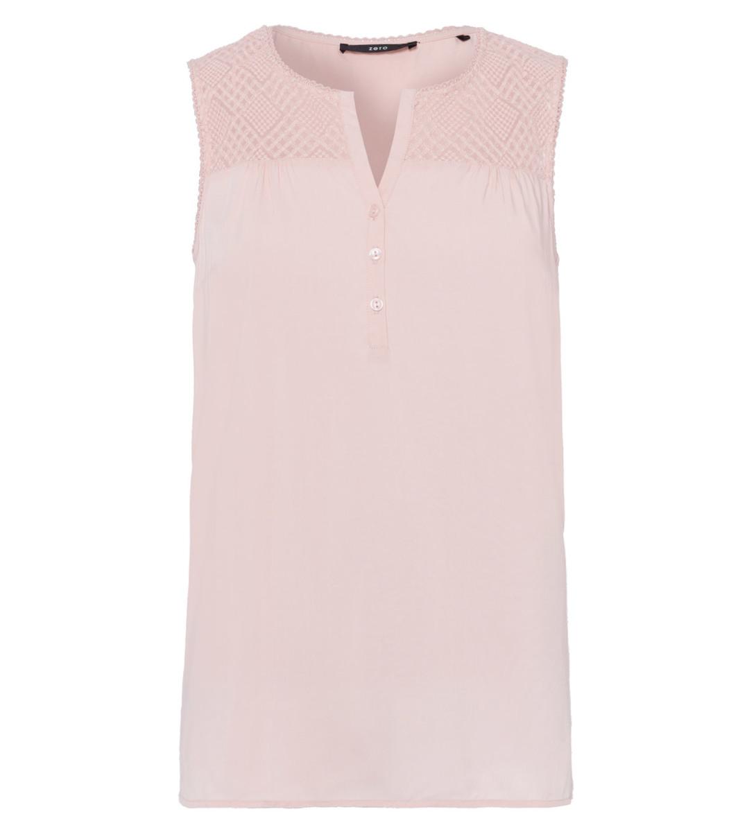 Bluse mit Spitzenbesatz in soft rose