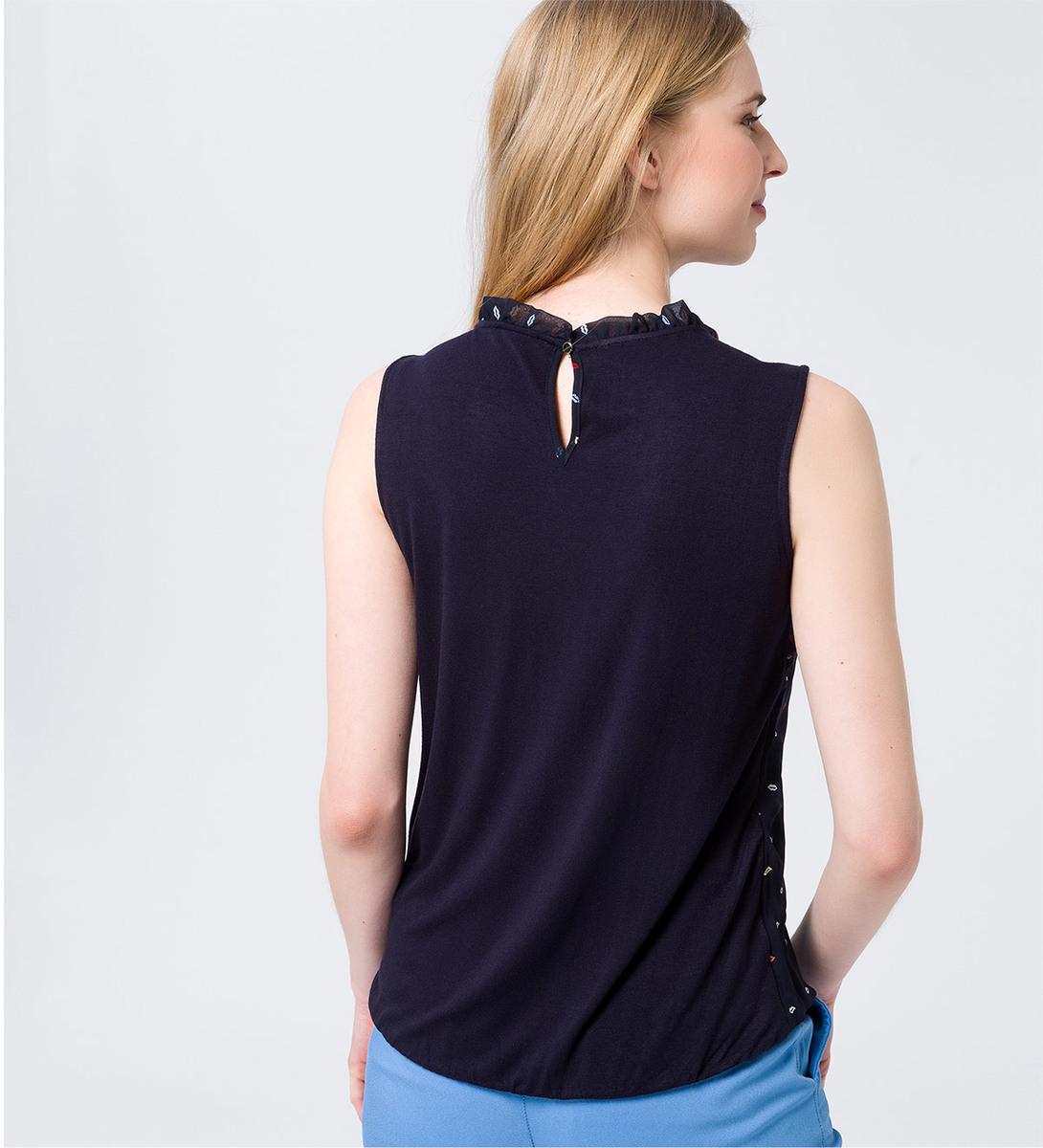 Bluse mit Raffung am Ausschnitt in blue black