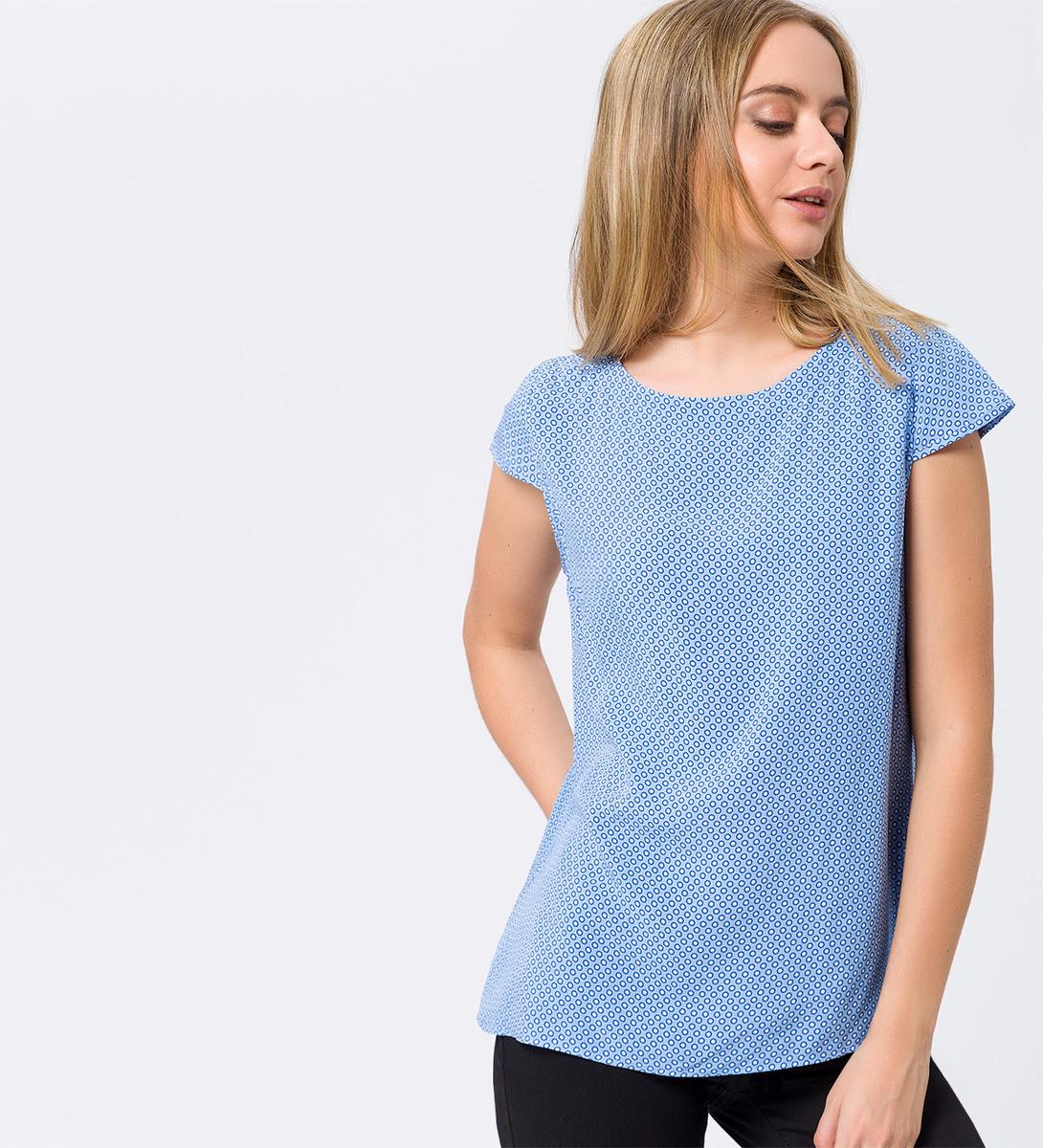 Bluse mit Flügelärmeln in azur blue