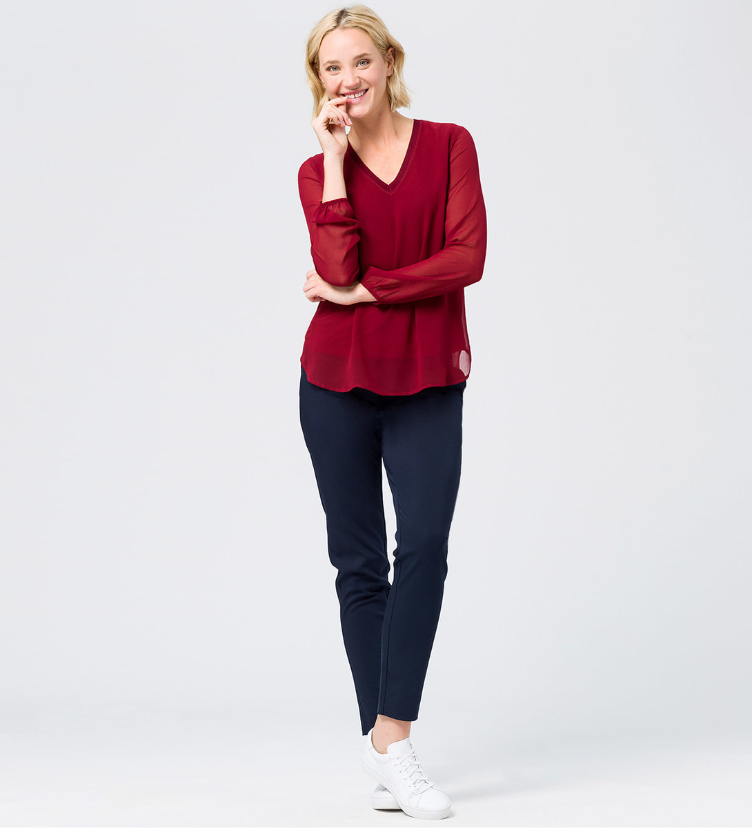 Bluse im Layering-Look in wine red