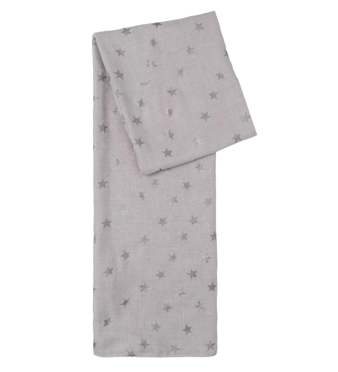 Tuch mit Alloverprint in light grey melange
