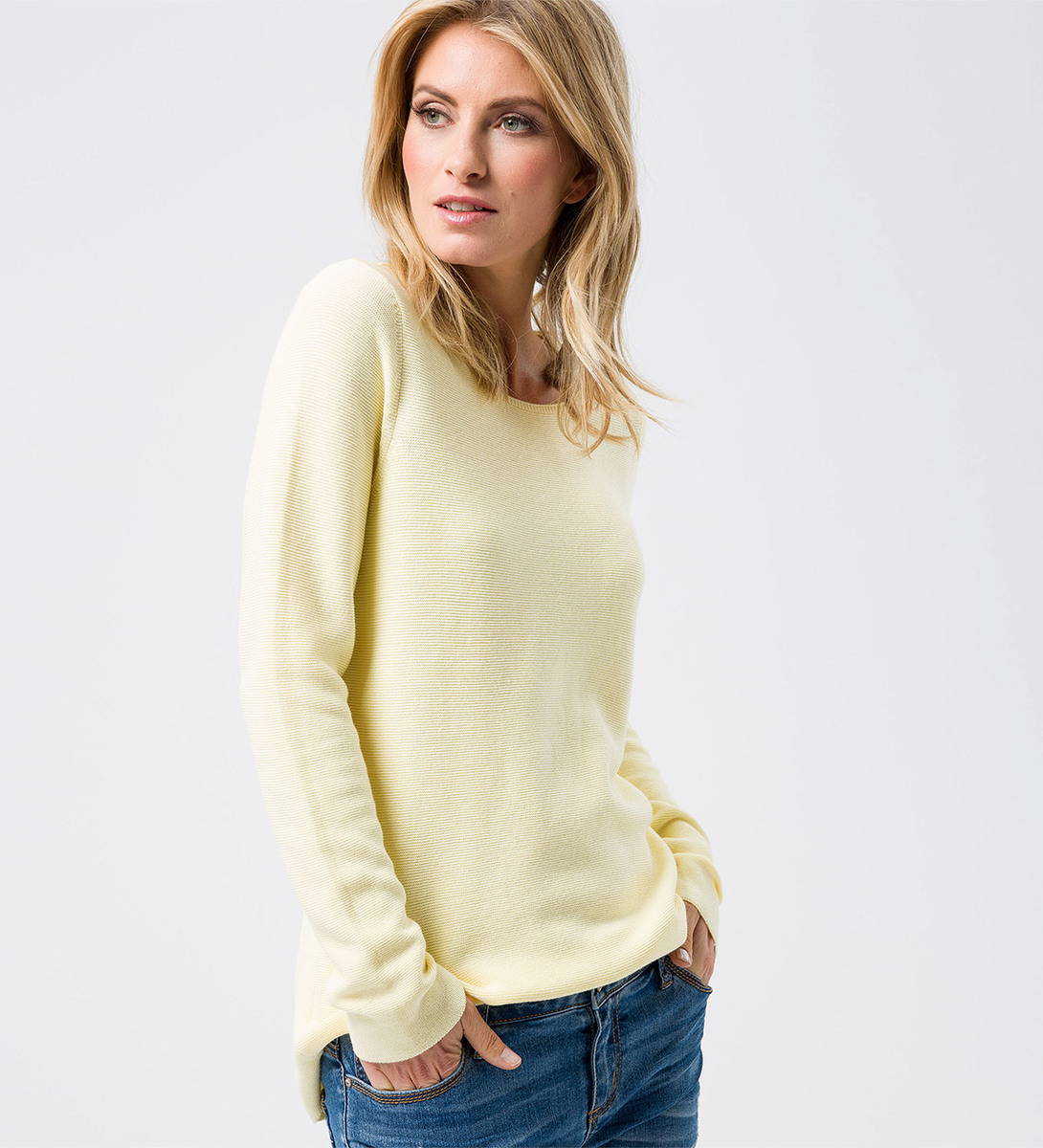 Pullover mit Bindeband in vanilla ice