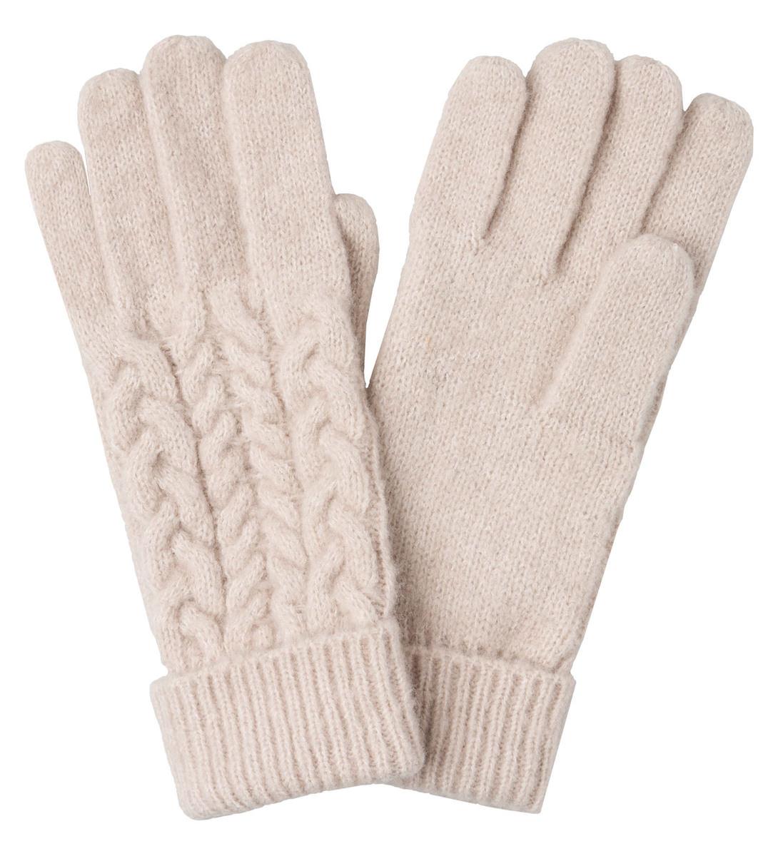 Handschuhe mit Zopfmuster in dove grey
