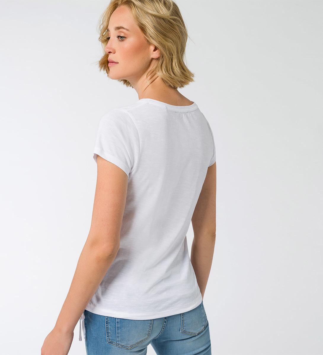 T-Shirt mit Aufdruck und Stickereien in white