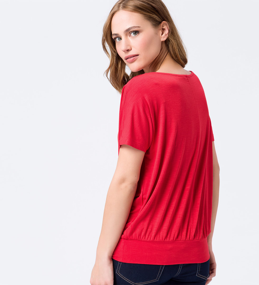 Shirt mit breitem Bund in hot coral