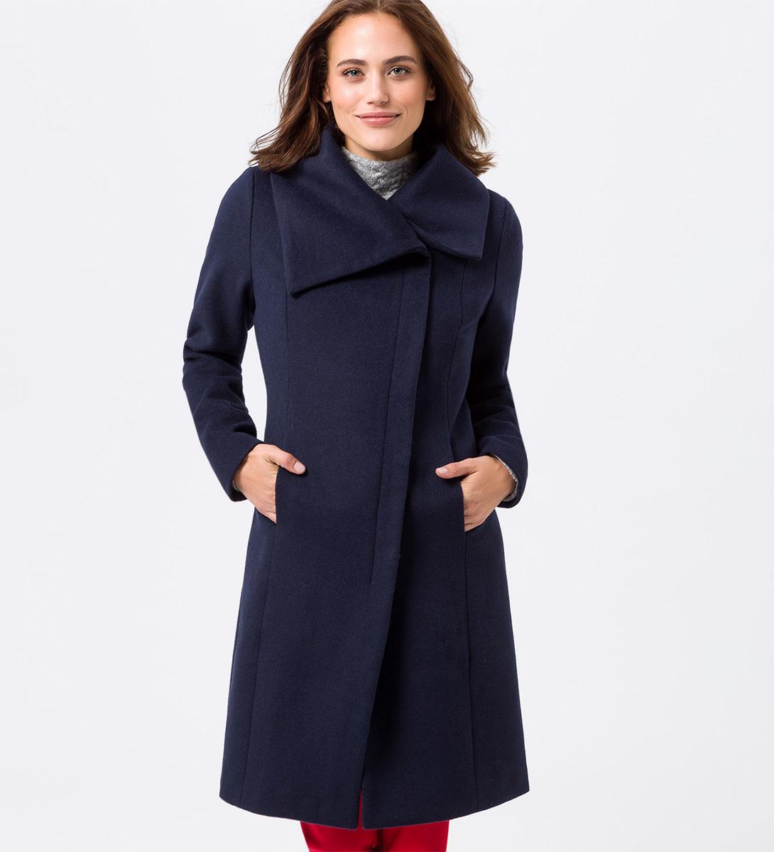 Mantel mit Wolle in blue black