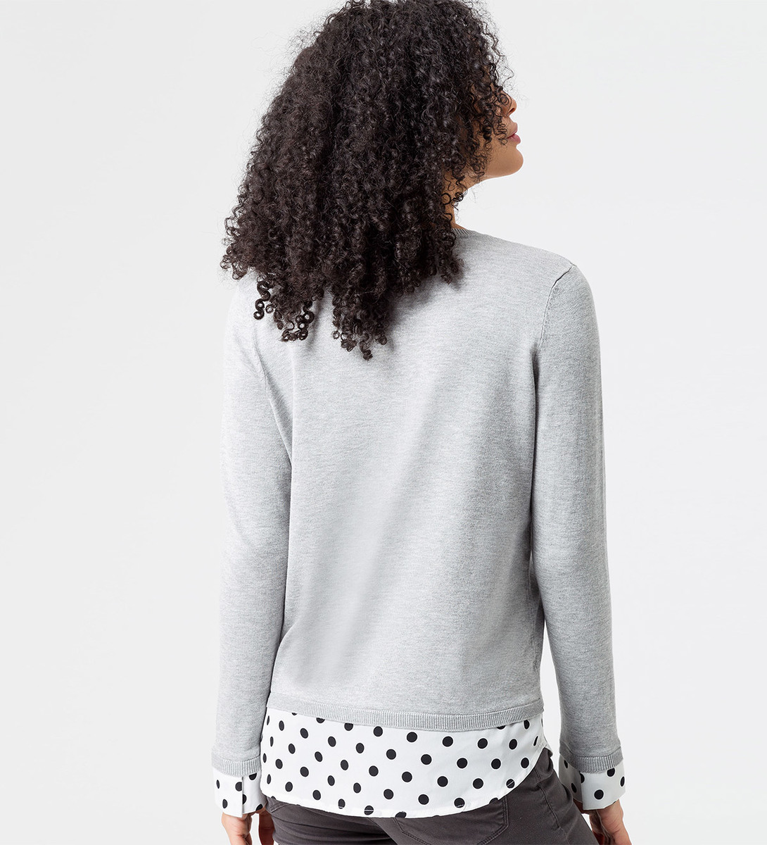 Pullover mit Bluseneinsatz in stone grey