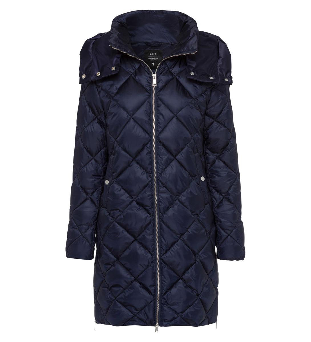 Mantel mit abnehmbarer Kapuze in blue black