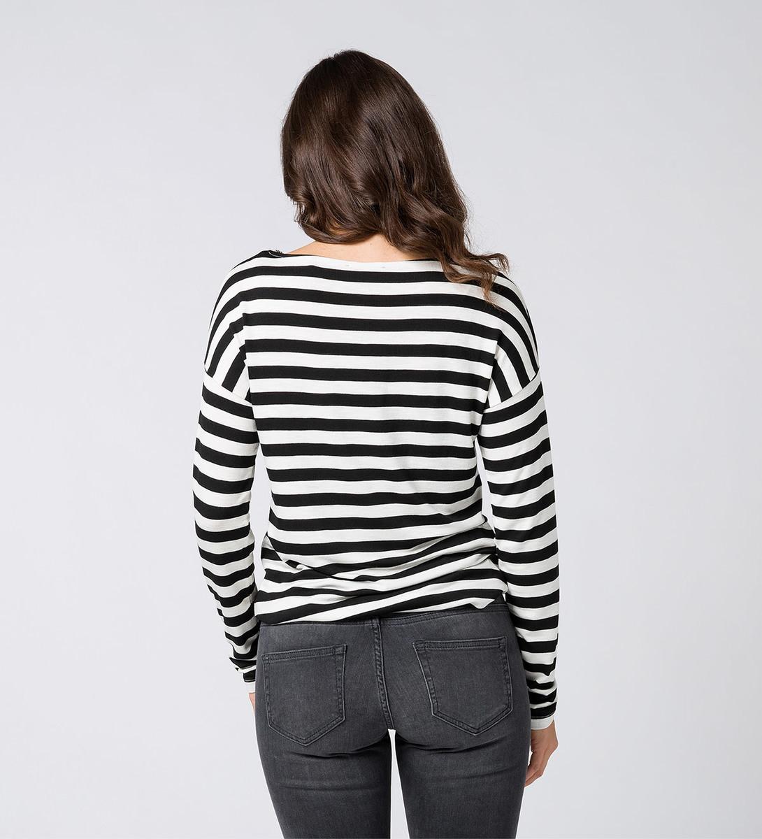 T-Shirt mit Streifen in black