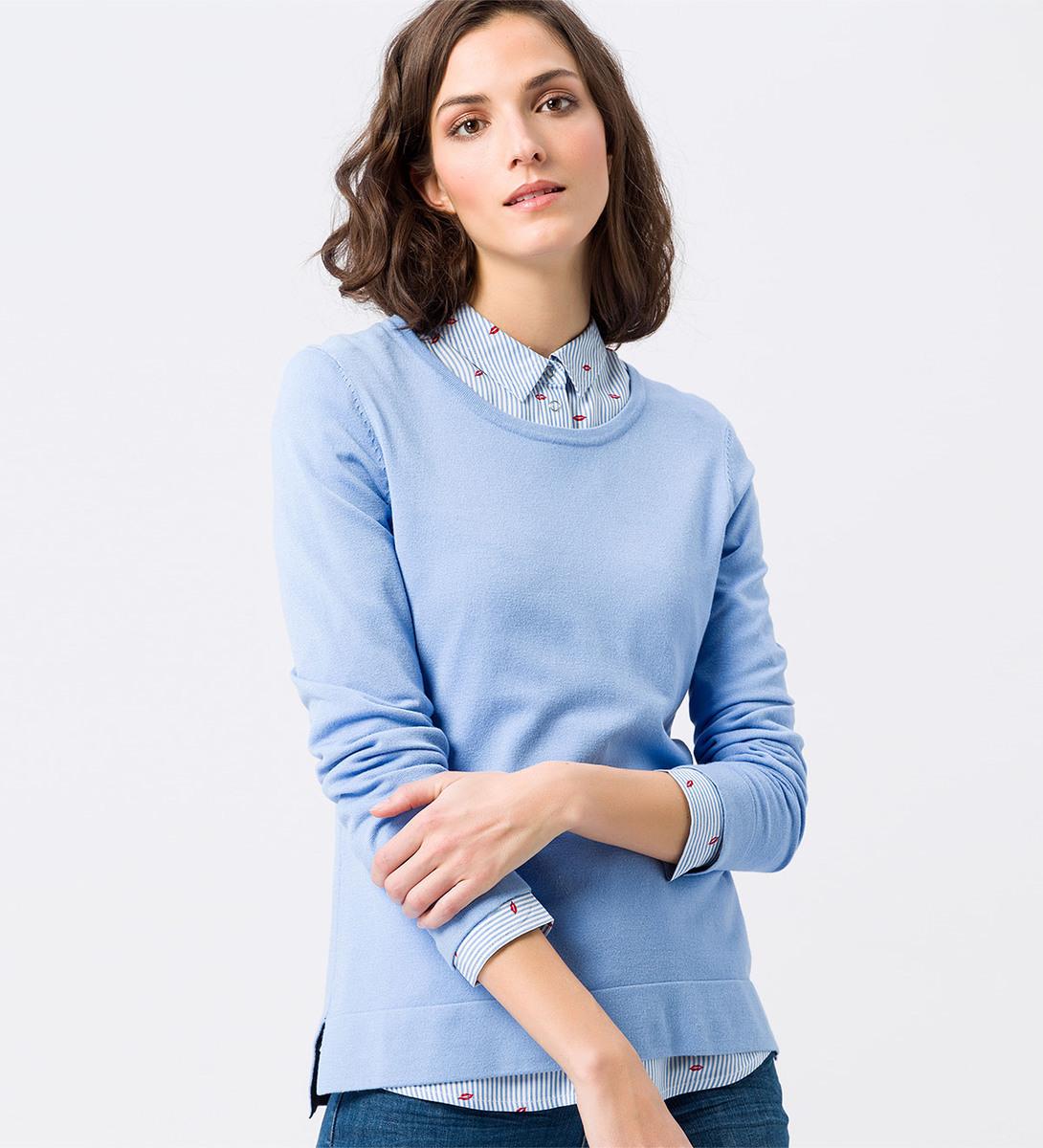 Pullover mit geschlitztem High-Low-Saum in blue wave