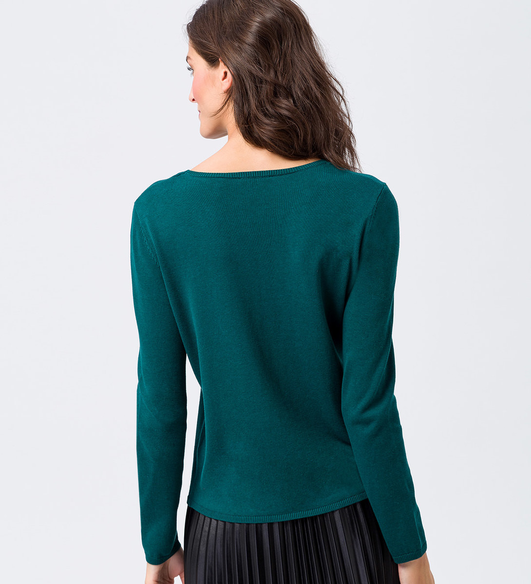 Pullover mit Stickerei in dark teal